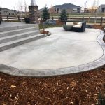 bordered concrete patio